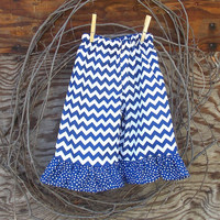 Girls Chevron ruffled pants, size 6, 12, 18 months 2 ,3, 4, 5, 6, 7, 8 girls, blue chevron,  fall, thanksgiving, Holidays