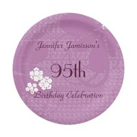 Purple Floral Personalized 95th Birthday Party Paper Plate