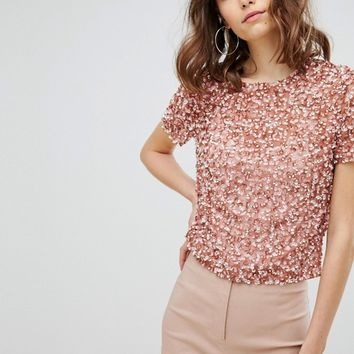 ASOS TALL T-Shirt With Sequin Embellishment at asos.com