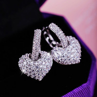 AAA Quality Fashion 2016 New Style Genuine Austria Crystal CZ Diamond Heart Stud Earrings For Women Free Shipping(Milan MJ1274)