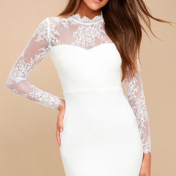 Tuscany Sunset White Lace Bodycon Dress