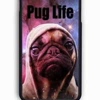 iPhone 6S Case - Hard (PC) Cover with Funny Pug Life On Galaxy  Plastic Case Design