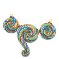 Gradient spiral beads in rainbow colors, Ombre beads with gold touch, Polymer Clay colorful beads with stripes for Jewelry Making, set of 3