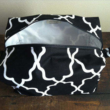Large Lined Makeup & Cosmetic Bag // Travel Bag // Michael Miller Coco Cabana Moroccan Lattice Black with White Dot Lining