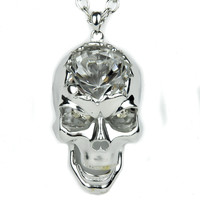 Light Silver Crack Skull with Large Stone Necklace Metal Pendant