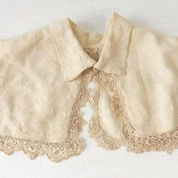 Edwardian Cream Silk Lined Detachable Collar with Crochet Lace Trim, Victorian Girls Bodice Yoke