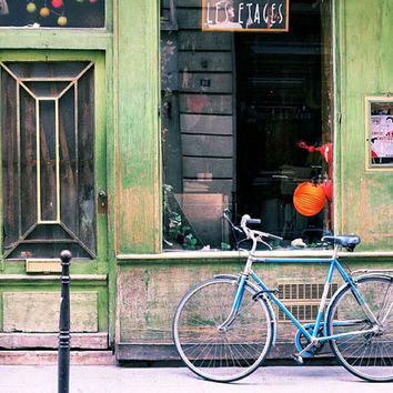 Paris Photography, Rustic Building, Bicycle Photo, Green Decor, Rustic Art, Parisian Decor, 8 x 10, 11 x 14 Print