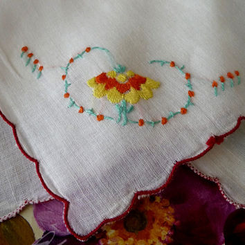 Yellow & Orange Floral Embroidered White Handkerchief Red Scalloped Edge Vintage Accessories, Crochet Edging V1033