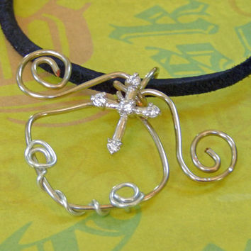 Wire Wrapped Crystal Cross Pendant