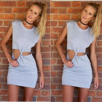 Hot Sale Ladies Sleeveless One Piece Dress [6047928961]