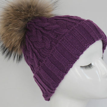 Purple Cable Knit Fur Pom Pom Hat