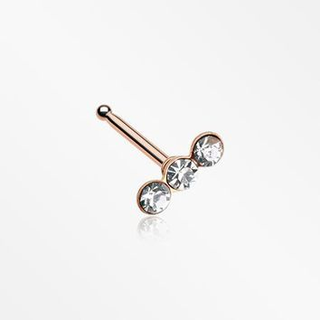 Rose Gold Triple Linear Gem Nose Stud Ring
