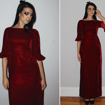 Vintage 60s VELVET Maxi Dress / Blood Red / Empire Waist, Bell Sleeves / Satin Bow Back / Holiday, Winter, Christmas, NYE, Elegant / Xs Sm