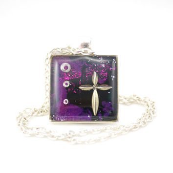 Confirmation Necklace, Christian Jewelry, Purple Cross Necklace, Catholic Gifts, Jesus Jewelry, Magic Glos Jewellery