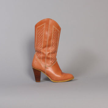 70s Caramel Leather COWBOY BOOTS / basketweave Stacked Heels, 6