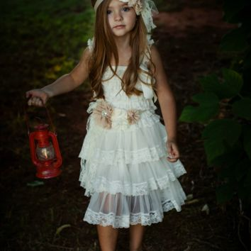 Rustic Chic Ivory Lace Flower Girl  Dress