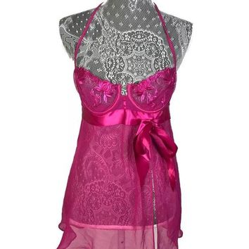 LMFXT3 Victoria's Secret Size 34B Very Sexy Women's Pink Lingerie Nightgown