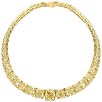 Magnificent One of a Kind Fancy Yellow Diamond Necklace