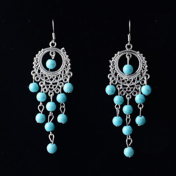 New Silver Color Drop Dangle Earrings,Bohemian Style Charm Vintage Turquoise Earrings For Women Long Earrings (Color: Silver) = 1928364996