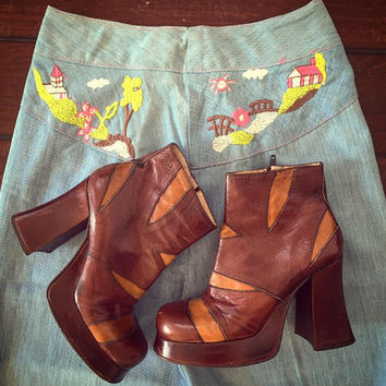 Rare 70s Patchwork Platform Ankle Boots 7 6.5 | boho gypsy disco leather high heel platforms - vintage leather ankle boots - retro 60s mod