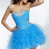 Strapless Corset Style Party Dress by Mori Lee