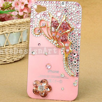 crystal iphone 4 case, handmade iphone cases iphone cover skin iphone 4s case - butterfly iphone 4 cases