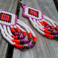 Native American Beaded Earrings in Metallic Pink by SplitFeather