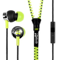 Zipbuds PRO mic Never Tangle Zipper Earbuds with Noise Canceling Mic/Remote, Neon Yellow