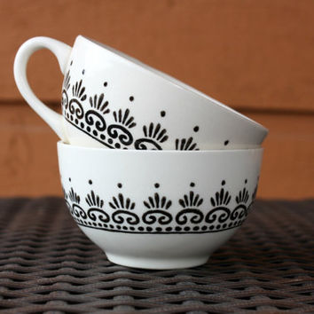 Moroccan Tea - Cream Teacup with Black Moroccan Henna Design Set of 2