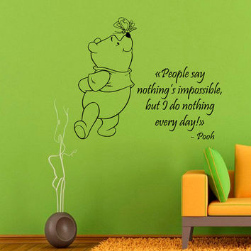 Winnie The Pooh Wall Decals Wall Quotes Children Vinyl Sticker Baby Kids Wall Decor Home Decor Vinyl Art Girl Boy Nursery Room Decor KG651