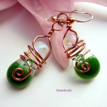 Summer Sprites Handmade Glass Copper Wire Wrapped Dangle Earrings