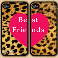 best friends iphone case, iphone 4 case, iphone 4s case -- Leopard Decal iPhone 4 Case, Two Case Set