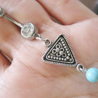 Tribal Triangle Belly Button Jewelry Ring Piercing Turquoise Beaded Navel Bar Barbell