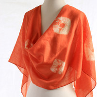 Warm orange merino wool scarf, madder dyed, hand dyed shibori tie dyed, fine wool shawl woven, naturally dyed shawl orange wool wrap