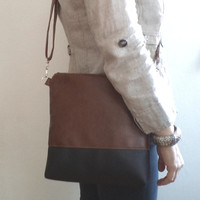 Brown and Black Crossbody Bag / Distressed Vegan Leather Purse