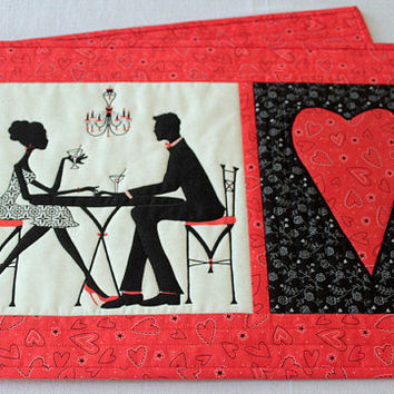 Valentine Placemats - Table Mats - Red Black Place Mats - Valentine Table Decor - Handmade Table Quilts - Set of two