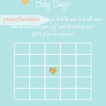 Blue and gold Bingo baby shower game printable for boy baby shower blue with gold glitter digital file diy
