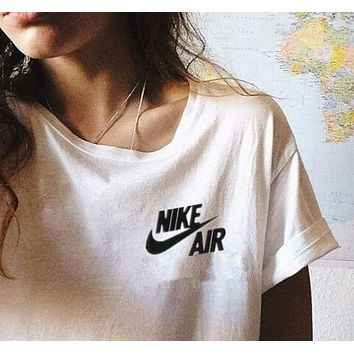 Nike Fashion Women Men Casual Print Short Sleeve Round Collar Top T-Shirt I