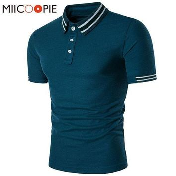 ESBON New Brand Clothing Men Polo Shirt Business & Casual Solid Male Polo Shirt Stripe Spell Color Short Sleeve Breathable Polo Shirt