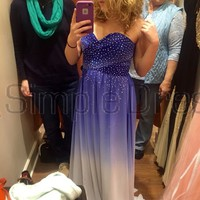 Buy Simple Dress New-arrival Gradual Purple Strapless Long Chiffon Sparkle Prom Dresses CHPD-7182 Discount Prom Dresses under $169.99 only in SimpleDress.