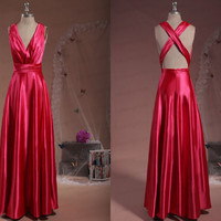 Long prom dress,handmade chiffon prom dress/red evening dress/formal dress/bridesmaid dress/party dress