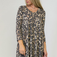 Faded Leopard Print Pocket Dress