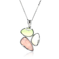 Sterling Silver Three Toned Multishape  Stone Necklace
