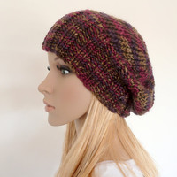 Slouch Beanie slouchy Hat Hand knit Hat in Purple, maroon and bronze Slouchy hat Unisex