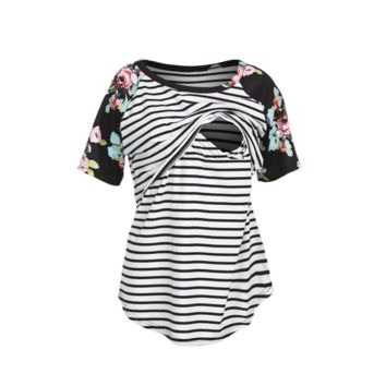 Short Sleeve Floral Stripe Maternity Top