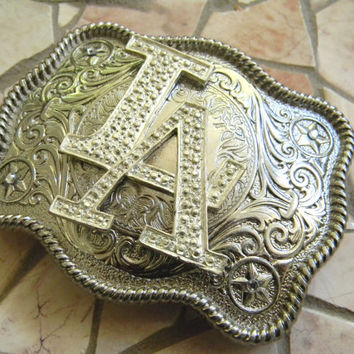 L.A. Dodgers Baseball Silver Belt Buckle, Los Angeles Dodgers Studded Rhinestone Womens Mens Kids Western Belt Buckle, Louisiana Buckle