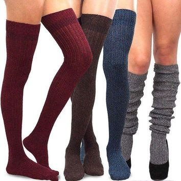 ESBON8C Teehee Women's Fashion Extra Long Cotton Thigh High Socks - 4 Pair Pack