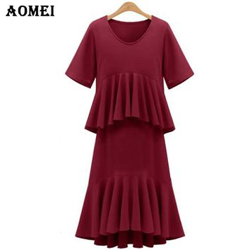 Women Pink Color Dress Short Sleeve O Neck Slimming Mid Calf Length Irregular Ruffle Trim Summer New Arrival Clothing
