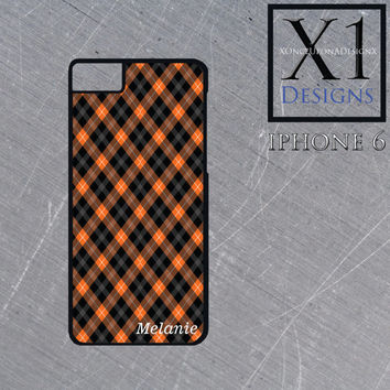 Black and Orange Plaid Iphone 6 Case Custom Iphone Case Plaid Cell Phone Case Personalized Iphone Cases Personalized With Your Name