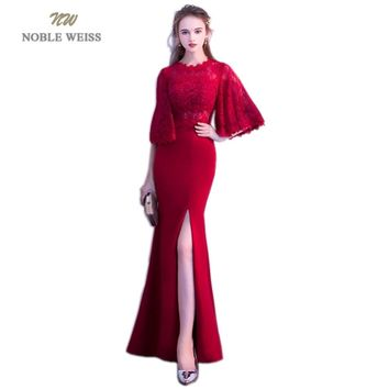 NOBLE WEISS Red Evening Dresses Mermaid Front Split Robe De Soiree Floor-Length Sexy Lace Appliques Prom Dress Evening Gowns